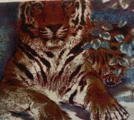 An Indian Style Rug, Decorated with a large panel of a tiger, on a blue and white ground, 165cm x