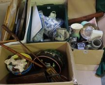 A Quantity of Sundries, Bric a Brac and Prints, To include a large shop golf ball on tee, a