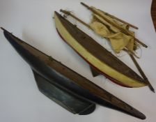 Two Vintage Painted Pond Yacht Hulls, 73cm, 100cm wide, (2)
