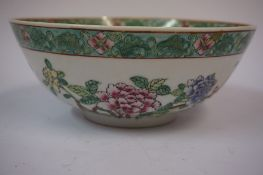 A Chinese Famille Verte Bowl, circa early to mid 20th century, Decorated with allover colourful
