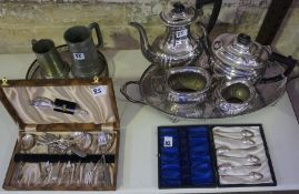 A Mixed Lot of Silver Plated Wares, To include a four piece tea set, two cases of cutlery, and two