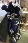 A Set of Dunlop Golf Clubs with Bag, also with a golf trolley, and two folding picnic chairs, (a