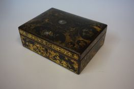 A Victorian Black Lacquered Papier Mache Sewing Box, Decorated with mother of pearl and floral