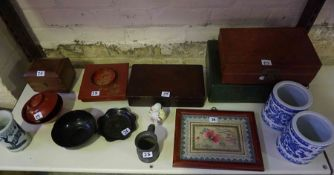 A Mixed Lot of Chinese and Japanese Collectables, to include a silk panel, food boxes, vases,