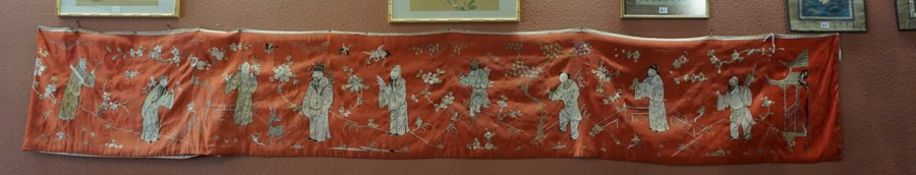 A Fine Chinese Silk Panel, Qing Dynasty, Decorated with eleven hand stitched figures of immortals,