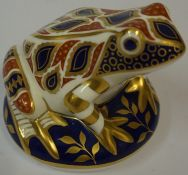 A Royal Crown Derby Paperweight, Modelled as a frog, silver button to underside, 8cm highCondition