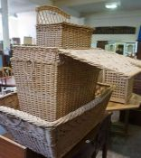 Four Wicker Baskets, Various sizes, largest 33cm high, 95cm wide, (4)