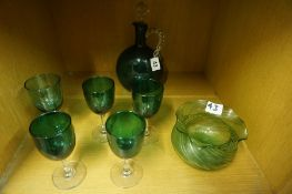 A Green Glass Decanter, circa early 20th century, with stopper, 20cm high, also with five similar