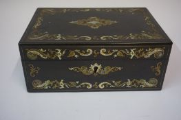 A Victorian Black Lacquered Sewing Box, Decorated with Abalone shell and Mother of Pearl scrolls and