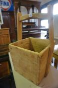 A Pair of Chinese Style Stripped Wood Rice Buckets, of square form, 54cm high, 35cm wide, (2)