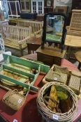 A Mixed Lot of Sundry Items, to include French shabby chique style wicker baskets, a set of