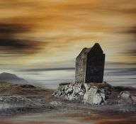 """""""Smailholm Tower"""" Photograph Laid on Canvas, artwork by D. Guskov, 49cm x 99cm, framed"""