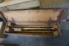 A Vintage Croquet Set, in original wooden box