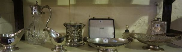 A Mixed Lot of Silver Plated Wares, To include a crystal claret jug, pair of sauce boats, cake