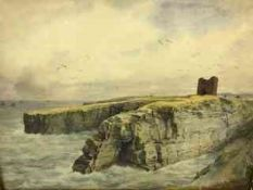 """William Woollard (Scottish fl 1883-1908) """"Wick Castle Caithness"""" Watercolour, signed to lower"""