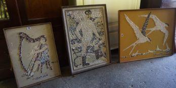 Margaret Somerville D.A (Scottish Sculpt) Six Framed Shell Panels, of various sizes, (6)