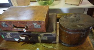 Two Vintage Suitcases, 55cm, 71cm wide, also with a vintage tin hat box, (3)