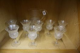 A Nine Piece Thistle Decorated Glass Set, Comprising of a water jug with eight glasses, star cut