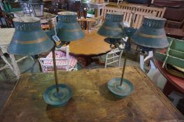 A Pair of Antique French Painted Toleware Table Lamps, with fitted twin shades, 50cm high, (2)