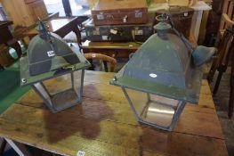 A Pair of Italian Ceiling Lights by Unopiu, Modelled as street lamps, having glazed panels, 45cm