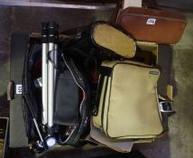 A Mixed Lot of Cameras and Binoculars, to include a Canon AE1 camera with accessories, and a pair of