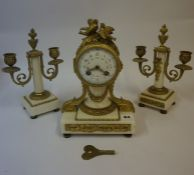 A French Gilt Metal and Marble Three Piece Clock Garniture, circa late 19th century, The drum head