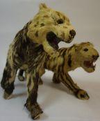 A Replica Taxidermy Model of a Tiger, 18cm high, 35cm wide, also with a replica taxidermy model of a
