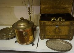 A Quantity of Sundry Brass Wares, to include a coal box and coal depot, table lamp, plaques,