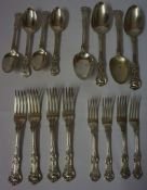A Part Suite of Victorian Silver Kings Pattern Cutlery, Hallmarks for George Jamieson, London