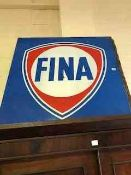 A Vintage Belgian Painted Tin Shop Sign, for FINA oil company Belgium, painted in red white and