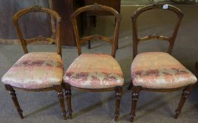 Three Matching Victorian Stained Wood Parlour Chairs, Having later stuffover seats, 88cm high, (3)