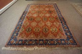 A Fine Agra (North India) Rug, circa early 20th century, Having allover geometric and floral panels,