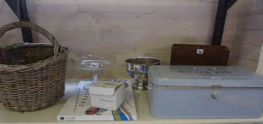 A Mixed Lot of Sundry Collectables, to include a metal biscuit tin, a wicker basket, a glass
