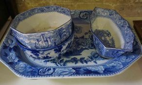 A Victorian Blue and White Pottery Meat Platter, 52cm wide, also with two blue and white bowls,