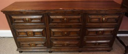 An Oak Dresser Base / Sideboard, circa 18th century and later, Having three drawers to the centre,