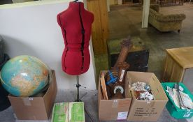 A Quantity of Sundry Collectables, to include a large revolving world globe, two wall barometers,