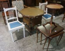 A Mixed Lot of Occasional Furniture, Comprising of a pair of hall chairs, an oak framed armchair,