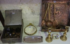 A Mixed Lot of Vintage Copper and Brass, To include a French hammered copper kitchen utensil