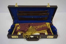 A Masonic Apron, Embroidered in gold colour for Torrie 1141, in fitted box