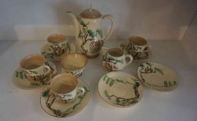 """A Clarice Cliff """"Tall Trees and Cottages"""" Pattern Coffee Set by Wilkinson, circa 1930s, Comprising"""