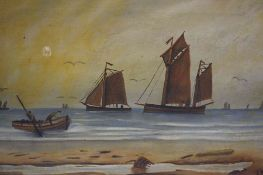 """Boats at Sea"" Oil on Canvas, initialled A.H to lower right, 25cm x 38cm, stamped to reverse of"