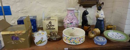 A Quantity of Ceramics, to include a Clarice Cliff bowl for Newport pottery, a Victorian toilet jug,
