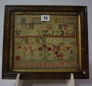 A Victorian Sampler, Worked by M.Venters, dated 1878, 20cm x 22.5cm, framed