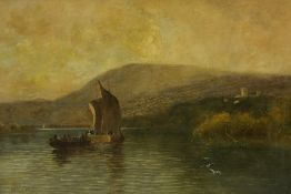 "After Sam Bough (1822-1878) ""Navy Boats"" Oil on Canvas, signed to lower left, 32cm x 51cm, framed"