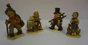 Four Hummel Figures by Goebel, to include Chimney Sweep, 12cm, 13cm high, (4)