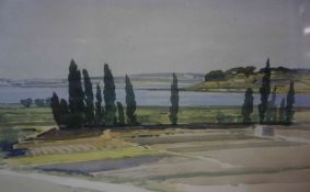 "J.S.C Alexander (1900-1952) ""French Landscape Scene"" Watercolour, 13cm x 50cm, also with a river"