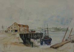 "Peter Knox (British 1942-) ""Low Tide the Old Quay Berwick"" Watercolour, signed in pencil, 30cm x"