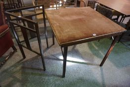 A Vintage Folding Card Table, Having a velour top, 74cm high, 88cm wide, also with a mahogany