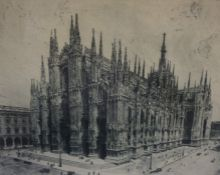 """Milan Cathedral"" Signed Etching, signed indistinctly in pencil to lower right, 23cm x 29.5cm,"