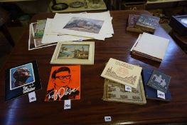 A Mixed Lot of Books, Pictures and Ephemera, to include a signed Continental school oil on board,